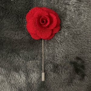 Other - Red Fabric Flower Lapel pin
